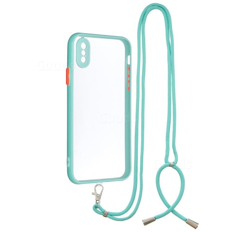 Necklace Cross-body Lanyard Strap Cord Phone Case Cover for iPhone XS / iPhone X(5.8 inch) - Blue
