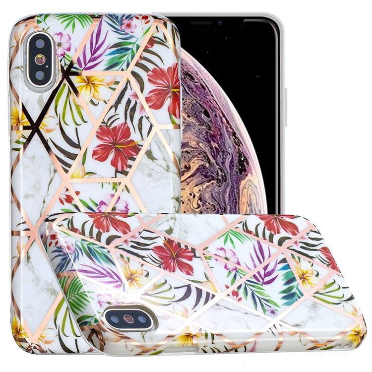 Tropical Rainforest Flower Painted Marble Electroplating Protective Case for iPhone XS / iPhone X(5.8 inch)