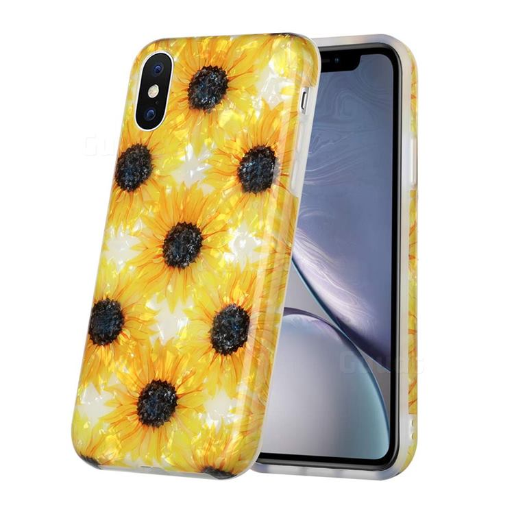 Yellow Sunflowers Shell Pattern Glossy Rubber Silicone Protective Case Cover for iPhone XS / iPhone X(5.8 inch)