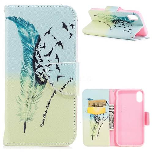 Feather Bird Leather Wallet Case for iPhone XS / X / 10 (5.8 inch)