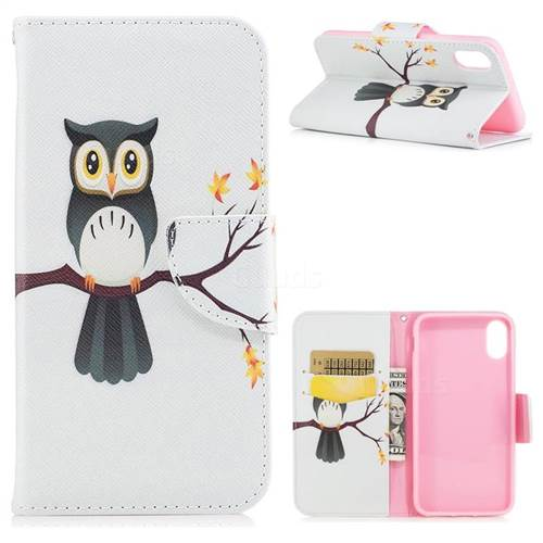 Owl on Tree Leather Wallet Case for iPhone XS / X / 10 (5.8 inch)