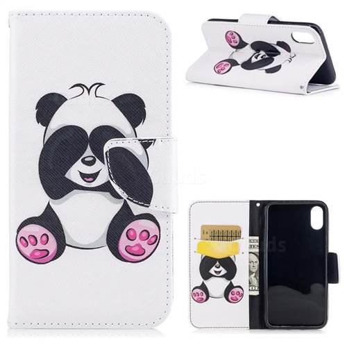 Lovely Panda Leather Wallet Case for iPhone XS / X / 10 (5.8 inch)