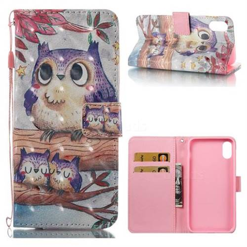 Purple Owl 3D Painted Leather Wallet Case for iPhone XS / X / 10 (5.8 inch)