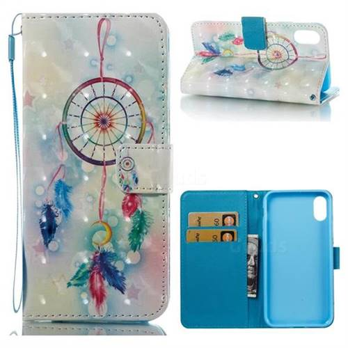 Feather Wind Chimes 3D Painted Leather Wallet Case for iPhone X(5.8 inch)