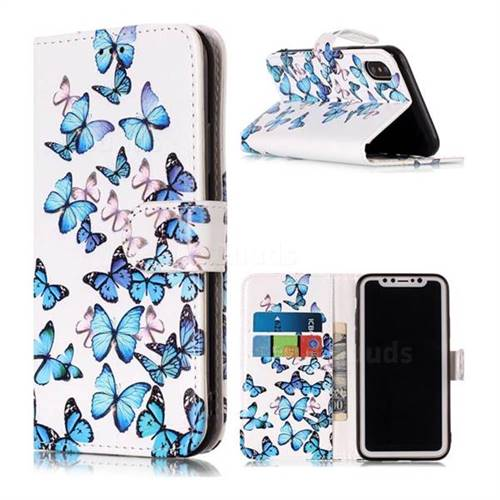 Blue Vivid Butterflies PU Leather Wallet Case for iPhone XS / X / 10 (5.8 inch)