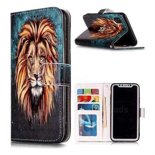 Ice Lion 3D Relief Oil PU Leather Wallet Case for iPhone XS / X / 10 (5.8 inch)