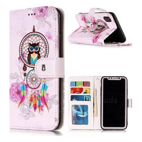 Wind Chimes Owl 3D Relief Oil PU Leather Wallet Case for iPhone XS / X / 10 (5.8 inch)