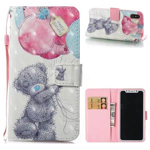 Gray Bear 3D Painted Leather Wallet Case for iPhone XS / X / 10 (5.8 inch)