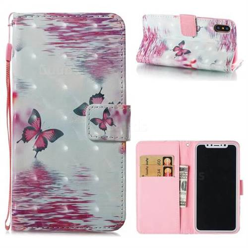 Purple Butterfly 3D Painted Leather Wallet Case for iPhone XS / X / 10 (5.8 inch)