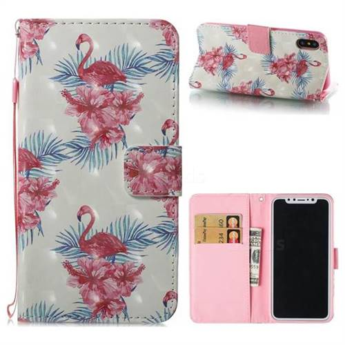 Flamingo and Azaleas 3D Painted Leather Wallet Case for iPhone XS / X / 10 (5.8 inch)