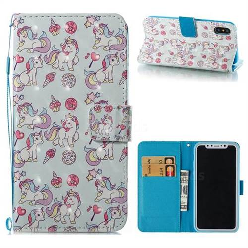 Playing Pony 3D Painted Leather Wallet Case for iPhone XS / X / 10 (5.8 inch)