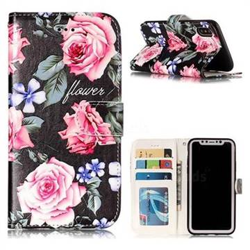 Peony 3D Relief Oil PU Leather Wallet Case for iPhone XS / X / 10 (5.8 inch)