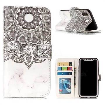 Marble Mandala 3D Relief Oil PU Leather Wallet Case for iPhone XS / X / 10 (5.8 inch)