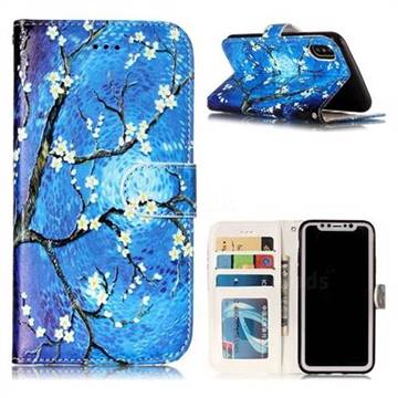 Plum Blossom 3D Relief Oil PU Leather Wallet Case for iPhone XS / X / 10 (5.8 inch)