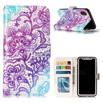 Purple Lotus 3D Relief Oil PU Leather Wallet Case for iPhone XS / X / 10 (5.8 inch)