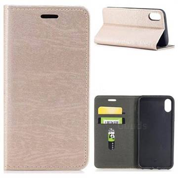 Tree Bark Pattern Automatic suction Leather Wallet Case for iPhone XS / X / 10 (5.8 inch) - Champagne Gold