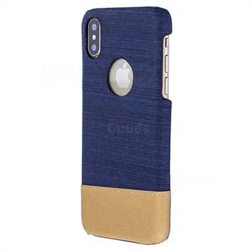 Canvas Cloth Coated Plastic Back Cover for iPhone XS / X / 10 (5.8 inch) - Dark Blue