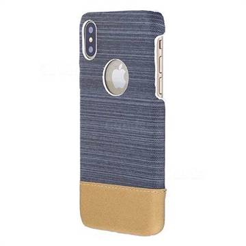 Canvas Cloth Coated Plastic Back Cover for iPhone XS / X / 10 (5.8 inch) - Dark Grey