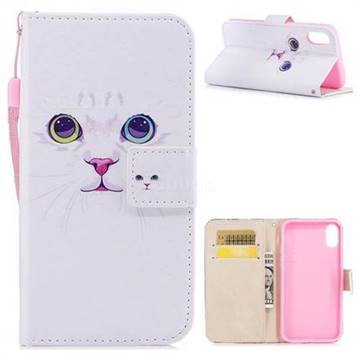White Cat PU Leather Wallet Case for iPhone XS / X / 10 (5.8 inch)