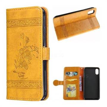 Luxury Retro Oil Wax Embossed PU Leather Wallet Case for iPhone XS / X / 10 (5.8 inch) - Gold