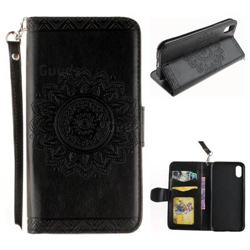 Embossed Datura Flower PU Leather Wallet Case for iPhone XS / X / 10 (5.8 inch) - Black