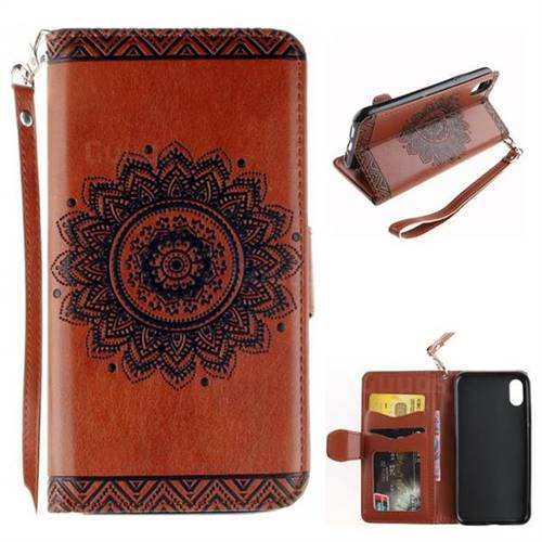 Embossed Datura Flower PU Leather Wallet Case for iPhone XS / X / 10 (5.8 inch) - Brown