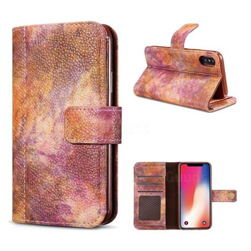 Luxury Retro Forest Series Leather Wallet Case for iPhone X(5.8 inch) - Purple