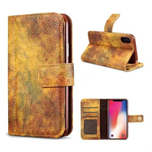 Luxury Retro Forest Series Leather Wallet Case for iPhone X(5.8 inch) - Yellow