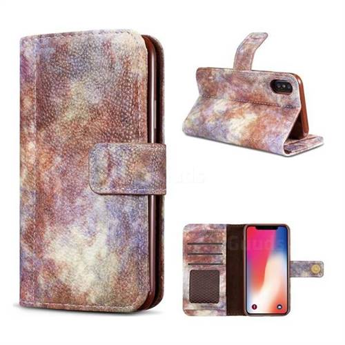 Luxury Retro Forest Series Leather Wallet Case for iPhone X(5.8 inch) - White