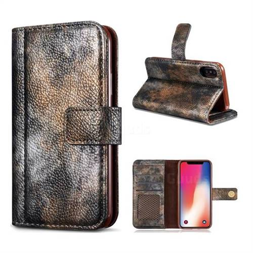 Luxury Retro Forest Series Leather Wallet Case for iPhone XS / X / 10 (5.8 inch) - Grey