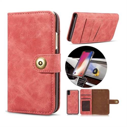 Luxury Vintage Split Separated Leather Wallet Case for iPhone X(5.8 inch) - Carmine