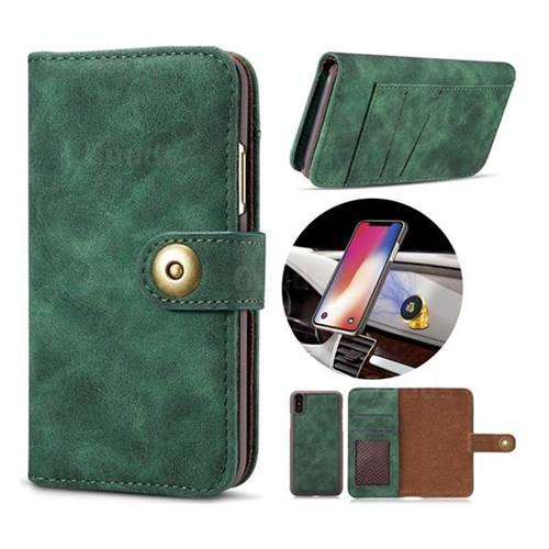 Luxury Vintage Split Separated Leather Wallet Case for iPhone XS / X / 10 (5.8 inch) - Dark Green