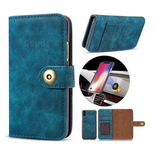 Luxury Vintage Split Separated Leather Wallet Case for iPhone XS / X / 10 (5.8 inch) - Navy Blue
