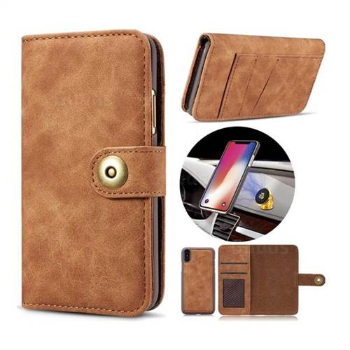 Luxury Vintage Split Separated Leather Wallet Case for iPhone XS / X / 10 (5.8 inch) - Brown