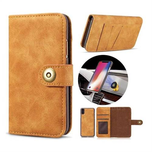 Luxury Vintage Split Separated Leather Wallet Case for iPhone XS / X / 10 (5.8 inch) - Khaki