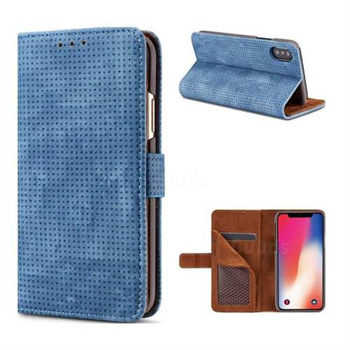Luxury Vintage Mesh Monternet Leather Wallet Case for iPhone XS / X / 10 (5.8 inch) - Blue