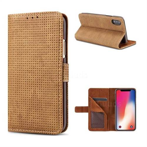 Luxury Vintage Mesh Monternet Leather Wallet Case for iPhone XS / X / 10 (5.8 inch) - Brown