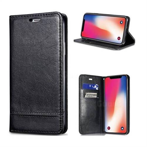 Magnetic Suck Stitching Slim Leather Wallet Case for iPhone XS / X / 10 (5.8 inch) - Black