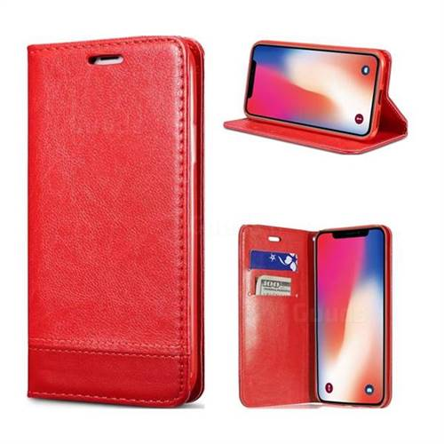 Magnetic Suck Stitching Slim Leather Wallet Case for iPhone X(5.8 inch) - Red