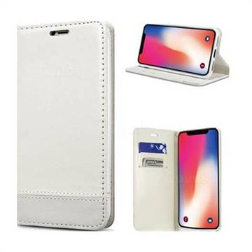 Magnetic Suck Stitching Slim Leather Wallet Case for iPhone XS / X / 10 (5.8 inch) - White
