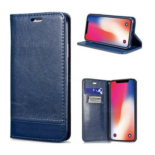 Magnetic Suck Stitching Slim Leather Wallet Case for iPhone XS / X / 10 (5.8 inch) - Sapphire