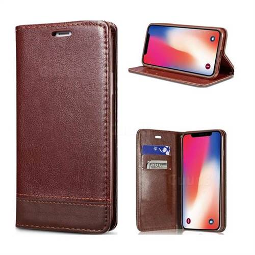 Magnetic Suck Stitching Slim Leather Wallet Case for iPhone X(5.8 inch) - Brown