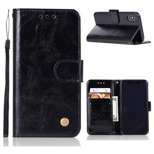 Luxury Retro Leather Wallet Case for iPhone X(5.8 inch) - Black