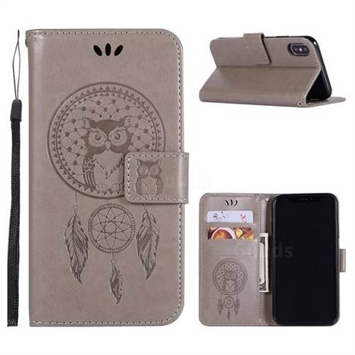 Intricate Embossing Owl Campanula Leather Wallet Case for iPhone X(5.8 inch) - Grey