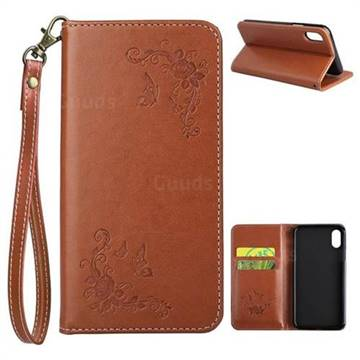 Intricate Embossing Slim Butterfly Rose Leather Holster Case for iPhone XS / X / 10 (5.8 inch) - Brown