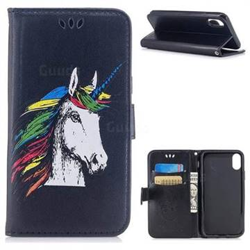 Watercolor Unicorn Leather Wallet Holster Case for iPhone XS / X / 10 (5.8 inch) - Black