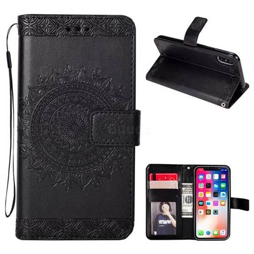 Intricate Embossing Totem Flower Leather Wallet Case for iPhone XS / X / 10 (5.8 inch) - Black