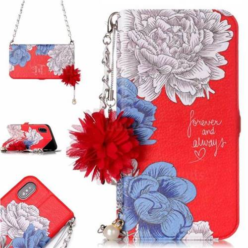 Red Chrysanthemum Endeavour Florid Pearl Flower Pendant Metal Strap PU Leather Wallet Case for iPhone XS / X / 10 (5.8 inch)