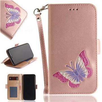 Imprint Embossing Butterfly Leather Wallet Case for iPhone XS / X / 10 (5.8 inch) - Rose Gold