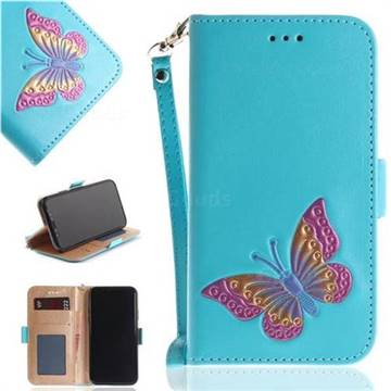 Imprint Embossing Butterfly Leather Wallet Case for iPhone XS / X / 10 (5.8 inch) - Sky Blue